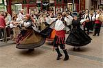 Dancing the jota during the fiesta del Pilar, Zaragoza, Aragon, Spain, Europe