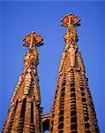 Spires of the Sagrada Familia, the Gaudi cathedral, in Barcelona, Cataluna, Spain, Europe