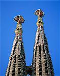 Flèches de la Sagrada Familia, la cathédrale de Gaudi, Barcelone, Catalogne, Espagne, Europe