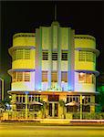 The Marlin Hotel illuminated at night, Ocean Drive, Art Deco District, Miami Beach (South Beach), Miami, Florida, United States of America, North America
