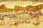 Panorama au début de Venise datant du XVe siècle, bibliothèque de Sansovino, Venise, Vénétie, Italie, Europe