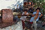 Children pressing olives in a stone olive press near Gocek, Anatolia, Turkey, Asia Minor, Eurasia