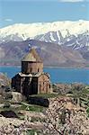 Arménien église de Sainte-Croix, l'île d'Akdamar, lac de Van, Anatolie, Turquie, Asie mineure, Asie