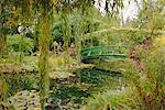 Water garden and bridge, Monet's garden, Giverny, Haute Normandie (Normandy), France, Europe