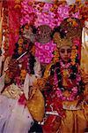 Children dressed as Radha and Krishna at a village fair near Jaipur, Rajasthan State, India, Asia