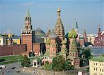 Saint-Basile de la cathédrale et le Kremlin, la place rouge, Site du patrimoine mondial de l'UNESCO, Moscou, Russie, Europe