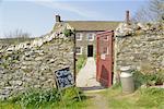 Cream teas sign outside Cornish farmhouse, near Fowey, Cornwall, England, United Kingdom, Europe