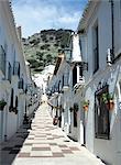 Calle San Sebastian, a narrow street in mountain village, Mijas, Malaga, Andalucia (Andalusia), Spain, Europe