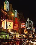 Theatreland, illuminated at night, Shaftesbury Avenue, London, England, United Kingdom, Europe