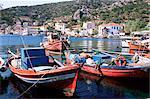 Fishing boats in harbour, Agia Kyriaki, Pelion, Greece, Europe