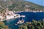 Fishing boats and harbour, Agia Kyriaki, Pelion, Greece, Europe
