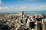 Vue de Chicago depuis le pont du ciel Sears Tower, Chicago, Illinois, États-Unis d'Amérique
