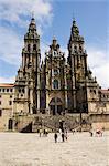Cathédrale de Santiago sur la Plaza faire Obradoiro, patrimoine mondial UNESCO, Saint Jacques de Compostelle, Galice, Espagne, Europe