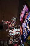 Glitter Gulch, Fremont Street, the older part of Las Vegas at night, Las Vegas, Nevada, United States of America, North America