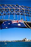 Flag, Sydney Harbour Bridge and Opera House, Sydney, New South Wales, Australia