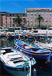Small fishing boats, Ajaccio, Corsica, France, Mediterranean, Europe