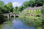 Bridge over the River Colne, Bibury, the Cotswolds, Oxfordshire, England, United Kingdom