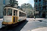 Tram in the Baixa district, Lisbon, Portugal, Europe