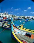 Marsaxlokk pêche harbour, Malta, Méditerranée, Europe