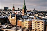 Toits de la ville en hiver, Stockholm, Suède, Scandinavie, Europe