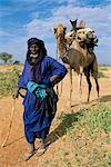 Homme du désert avec son chameau, Mopti, Mali, Afrique