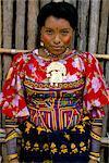 Portrait of a Cuna Indian woman, Rio Sidra, village of Namardua, San Blas archipelago, Panama, Central America