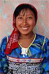 Portrait of a young Cuna (Kuna) Indian woman, Mamardup village, Rio Sidra, San Blas archipelago, Panama, Central America