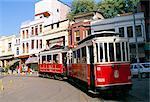 Trams on Istikal Cad, Beyoglu quarter, Istanbul, Turkey, Europe