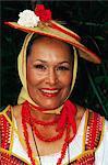 Portrait d'une femme portant le costume traditionnel au cours de la célébration du Corpus Christi, La Orotava, Tenerife, îles Canaries, Espagne, Atlantique, Europe