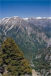 Aerial view of the Samaria Gorge and surrounding mountains, island of Crete, Greece, Mediterranean, Europe