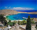 Vue de la baie de Lindos Acropole, Lindos, Rhodes, Dodécanèse, Grèce