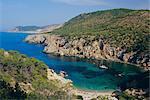Cala Serra sur la côte nord, près de Portinatx, Ibiza, îles Baléares, Espagne