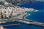 Vue aérienne du port de Santa Cruz de la Palma, La Palma, îles Canaries, Espagne, Atlantique, l'Europe et de Santa Cruz de la Palma