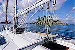Ilet Saint Pierre (îlot St-Pierre), de bateau, Anse Volbert, île de Praslin, Seychelles, océan Indien, Afrique