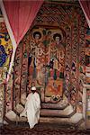 Interior of the Christian church of Ura Kedane Meheriet (Kidene Mehret) (Ura Kidanemereth), Zege peninsula, Lake Tana, Gondar region, Ethiopia, Africa
