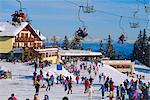 Ski lift and skiers, Dolomites, Trentino-Alto Adige, Italy