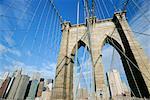 Brooklyn Bridge and skyline, New York City, New York, United States of America, North America