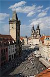 Old Town Sq, Crowd at Clock, Prague, Czechoslovakian Republic