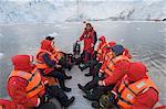 Touristes à Garibaldi Glacier, Parc National de Darwin, Tierra del Fuego, Patagonie, au Chili, en Amérique du Sud