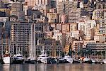 Bateaux sur la front de mer, Monte Carlo, Monaco, Côte d'Azur, Méditerranée, Europe
