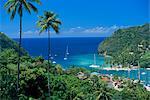 Élevé vue sur la baie de Marigot, île de Sainte-Lucie, îles sous-le-vent, Antilles, Caraïbes, Amérique centrale