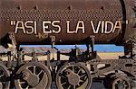 That's Life, train graveyard, Uyuni, Bolivia, South America
