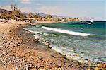 Plage et le golfe d'Aqaba, Nuweiba, Sinaï, Égypte, Afrique du Nord, Afrique