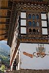 Phallus painted on wall of house to ward off evil spirits, Paro, Bhutan, Asia