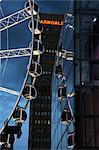 Soirée vue sur la roue de Manchester, Manchester, Angleterre, Royaume-Uni, Europe