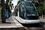 Tram at tram station, Strasbourg, Alsace, France, Europe