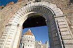 View of Piazzetta dei Miracoli, through Porta Nuova, UNESCO World Heritage Site, Pisa, Tuscany, Italy, Europe