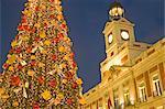Comunidad de Madrid (City Hall), Puerta del Sol Square at Christmas time, Madrid, Spain, Europe