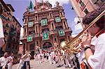 Club's parade, San Fermin festival, and Pamplona City Hall, Pamplona, Navarra, Spain, Europe