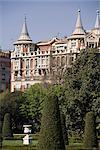 Retiro Park and building outside the park, Madrid, Spain, Europe